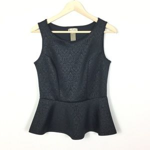 Black Damask pattern peplum top S (4-6)
